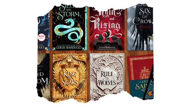 A decorative graphic of Grishaverse books by Leigh Bardugo. Six of Crows, Ruin and Rising, Seige and Storm, Rule of Wolves, King of Scars are pictured.